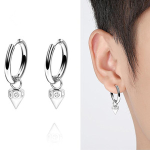 Wholesale Piercing Jewelry Hip Hop Cone Dangle Drop Earring Stainless Steel Huggie Hoop Earring with Crystal