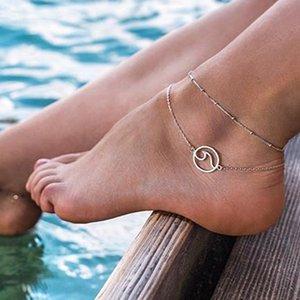 UjueE Seti alaşım kolye kolye çok tabakalı zincir ayak bilekleri bilekler, ayak bilekleri dalga