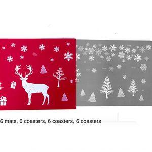 Xibao novo copo copo refeição esteira decorativa criativo de Natal PVC impresso jantar montanha-mat 6 pacotes cada 3jOnH