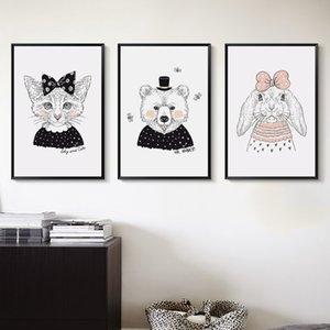 Şık Şiir Şiir Hayvan Karikatür Sevimli Kedi Tavşan Fare Ayı A4 Tuval Boyama Sanatı Baskı Poster Resmi Kız Yatak Odası Duvar Dekorasyon