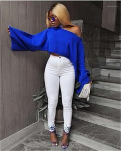 Seksi Gevşek Katı Renk Uzun kollu Knits Moda Casual Tops Boyun Tasarımcı Örme Tshirts Kadınlar Slash Womens