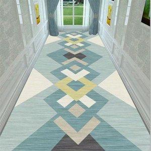Geometric Corridor Carpet Bedside Area Rug Anti Slip Flannel Kitchen Bathroom Rug Doorway Doormat Floor Mat Living Room Carpets
