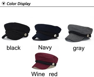 New Wool Berets Hats Autumn Winter for Women Lady Girls Vintage Patchwork Military Octagonal Cap Berets England Style Sun Hat Christmas Gift