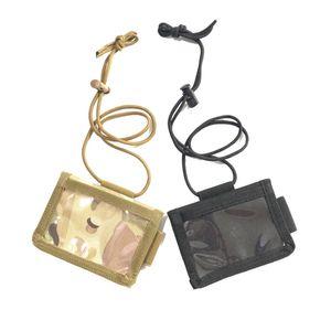 Wholesale 100pcs lot Tactical ID Card Holder Nylon mens wallet Adjustable Neck Lanyard Key Ring Detachable Cards Organizer