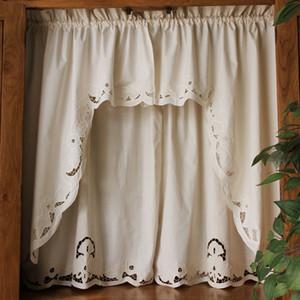 Desgaste corto Cortina Café retro hueco Hem Pole triangulares Cortinas para Bar gabinete de cocina de puertas y ventanas