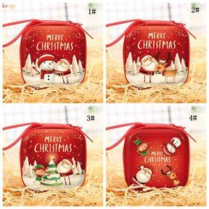 Christmas Candy Gifts Bag Kids Girls Christmas Mini Coin Purses Santa Claus Snowman Deer Square Small Wallets Christmas Presents DBC BH4048