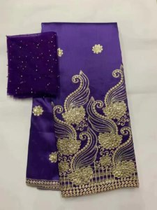 High Quality African George Lace Fabric With Net Blouse Fashion Sequins Embroidered George Lace Fabric For Wedding 7yards
