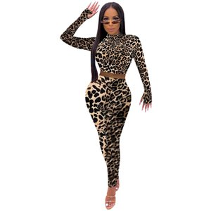 Mulheres Leopard Dois Pants Pedaço manga comprida gola Shorts Camiseta cintura alta Calças Famale Slim Fit Suit