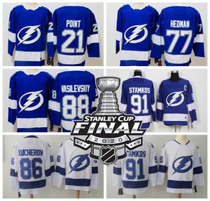 Tampa Bay # relâmpago 2020 Stanley Cup Final Jerseys 91 Steve Stamkos Jersey 86 Nikita Kucherov Jersey 77 Victor Hedman 88 Vasilevskiy Hockey