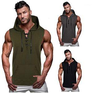 Drawstring T Shirts Summer Hooded Mens Tshirts Solid Color Sleeveless Vest Casual Sport Streetwear Mens Designer Summer Tees