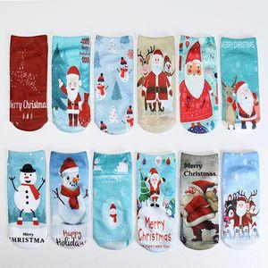 Girl Women Christmas Santa Clause Snow Man Warm Stripes 3D Printed Xmas Red Socks 12 Designs