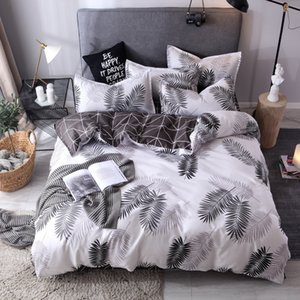 Solid Color Bedding Set Cotton Sanding Double Spell 4pcs Bed Sets Bedclothes Duvet Cover Sheets Pillowcase Comfortable Coverings