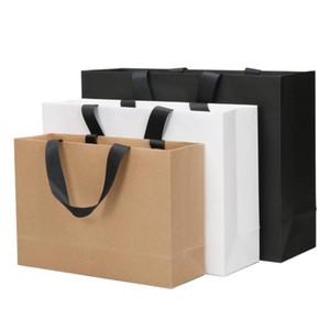 كرافت ورقة بيضاء بطاقة 250G والملابس التسوق هدية الزفاف المحمولة كيس ورقي 27x38 22x32 17x25cm تخصيص LOGO SN1510