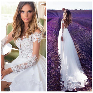 Vestidos De Mariee Spring A-Line Wedding Dresses Country Rustic Bridal Gowns Sheer Neck Lace Appliques Long Sleeve Split Milla Nova AQ185