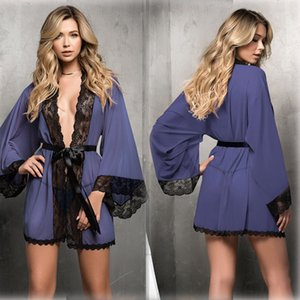 Simple Casual Women Home Sleepwear Fashion Lace Sexy Robes for Female Night Club Party Ladies Nightgowns