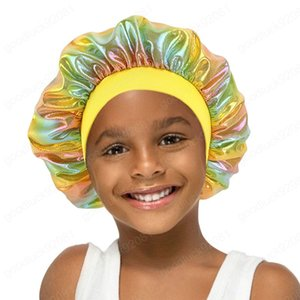 Satin Bonnet For Kids Double Layer Adjustable Elastic Band Sleep Cap Silky Hair Care Hat Boys Curly Protect Hair Accessories
