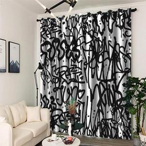 Cortina blanco y negro apagón de la sala de estar dormitorio 3D Cortinas de impresión abstracta ventana de la cocina cortinas para puertas