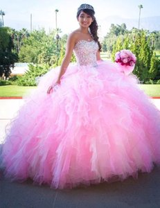 Princess Pink Ball Gown Quinceanera Dresses Sweetheart Puffy Tiers Skirt Glitter Crystals Beaded Prom Brithday Party Sweet 15 16 Dress