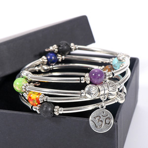 Tennis Men Women 7 Chakra Bracelet 4 Stands Copper Tube Wrap Natural Stone Beads Health Yoga OM Charm Bracelets Hand Bangles Jewelry