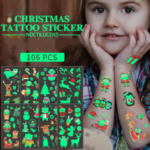 Christmas Noctilucent Body Art Tattoos r Water Transfer Glow In The Darkness Waterproof Sanitary Tattoos Body Art Tattoo Stickers