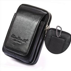 Genuine Leather Fanny Waist Pack Cell Mobile Phone Case Purse Money Men Belt Bum Pouch Hook Bag