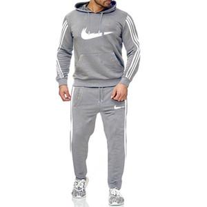 Erkek Eşofman Koşu Suit Yan Çizgili Kapüşonlular Seti Man Fleece Kapüşonlular ve pantolon Erkek Çalışma Out Giyim Jogger Seti Gym Giyim