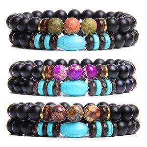 Coppia mano 2pcs Bracciale / set Braccialetto di pietra naturale Turchesi imperiali Jaspers Beads Unkite fascino per le donne gli uomini Amicizia