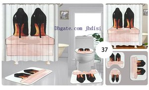 Women High-heeled Shoes Print Curtain Vintage Sexy Girl Shower Room Decorate Curtain Designs Floor Non-slip Mat 4 Pieces Sets