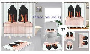 Женщины туфли на высоком каблуке Печать занавес Vintage Sexy Girl Shower Room Украсьте занавес Designs покрытие Non-Slip Mat 4 шт Наборы