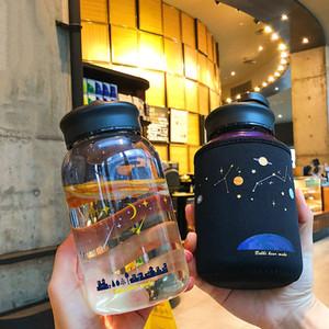 Kızlar Spor İçeceği Şişeleri için Koruyucu Çanta Sevimli Moda sızdırmaz Su Cup ile ML Starry gökyüzü Gradyan Cam Su Şişesi