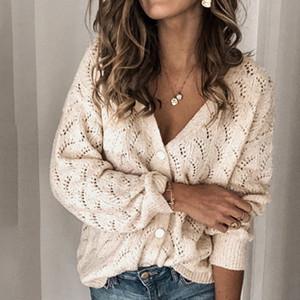Кардиган 2020 осень зима свитер женщин Вязаные Hollow V-образным вырезом с длинными рукавами, однобортный хлопок кашемира Вязаная Кардиган T200910