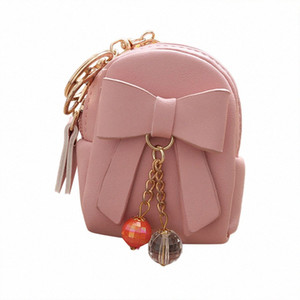 Vintage Drop Shipping Fashion Independent Design Women Bow Pendant Zip Coin Purse Mini Wallet Lady Student Key Bag Coin Purse 1QNl#