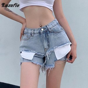Lusofie 2020 New Summer Patchwork Fake Two Piece Denim women shorts high waists fur-lined leg-openings sexy short Jeans