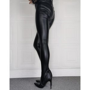 Jumpsuit Overknee Stiletto Leather Women Thigh High Crotch Pants Boots Pointed Toe Sexy Ladies High Heel Runway Shoe Woman