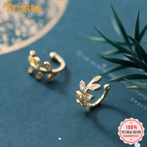 Trustdavis reale argento 925 Dolce Foglie CZ dell'orecchio del polsino Clip su orecchini per le donne senza perforare Orecchini gioielli DA1378