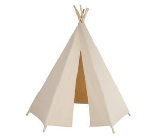 2020 New 6-poles beige teepee color kid play tent cotton canvas kids teepee white playhouse fabric children bed tent indoor