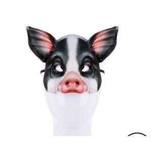 Partido Realstic Cospty animal engraçado Carnaval Meia cara Branco Preto Anime Cosplay Eva 3d máscara de porco Gb1025