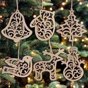 6pcs / Pacote de Natal 2020 Letter Coração de madeira teste padrão da bolha Ornamento da árvore de Natal decorações de casa Festival pendurando enfeites presente FY7173
