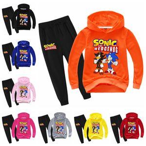 Boys Girls Kids Toddler Hooded Sweater Sonic The Hedgehog Print Sweatshirt Pants Suit Children Hoodies for 2-14 Years Old