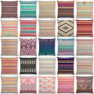 Nuevo colorido Modelo tribal retro imprime funda de almohada pequeños pedazos floral decorativo geométrico de la raya del arco iris Cojín