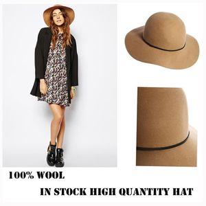 أزياء خريف وشتاء 100٪ الصوف المرأة KHAKI فيدورا قبعات تريلبي ملبده BUCKET الشمس HAT السيدات كاب حجم 56-58CM