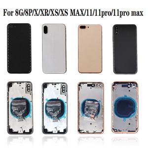 iphone 8G 8 Artı XR XS MAX 11 11 pro max Geri Orta Çerçeve Şasi Tam Konut Montaj Cam Pil Kapağı kapı için