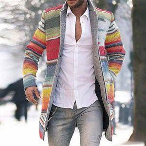 Erkekler Yün Coat Kış Gökkuşağı Ekose İnce Uzun Palto Erkek Palto Hendek Palto Moda Vintage Uzun Ceket Man Plus Size 4XL