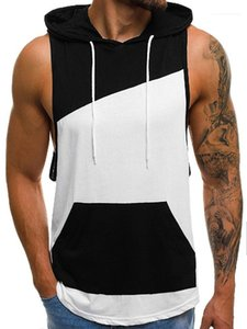 Tops 19ss New Men Hooded Patchwork Tanks Summer Sleeveless Fitness Plus Size 2XL Tops Tees Tank