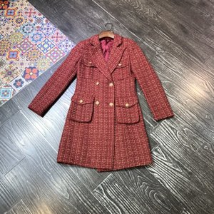 Tweed double-breasted Chinese jacket for new women's fashion Autumn 2020