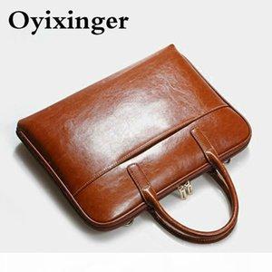 Fashion Women Briefcase Genuine Leather Laptop Computer Bag Men Business Shoulder Messenger Bags Female Office Leather Handbag