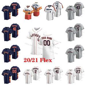 Customize 2 Alex Bregman 2020 Astros Jersey Jose Altuve Yordan Alvarez Carlos Correa Justin Verlander George Springer Brantley Zack