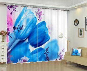 babson Blue tulip 3D digital printing curtain DIY curtain advanced custom photo
