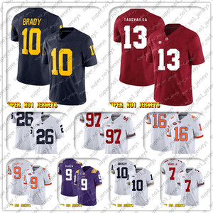 9-17 NCAA 10 توم برادي 13 توا Tagovailo ألاباما قرمزي المد كلية كرة القدم جيرسي ماثيو ستافورد باري ساندرز T.J. Hockenson الذهبي