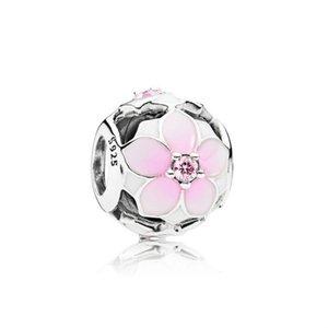 NUEVO 100% de plata esterlina 925 1: 1 auténtico 792087PCZ Floración de la magnolia, rosa pálido Cerise CZ mujeres pulsera joyería original